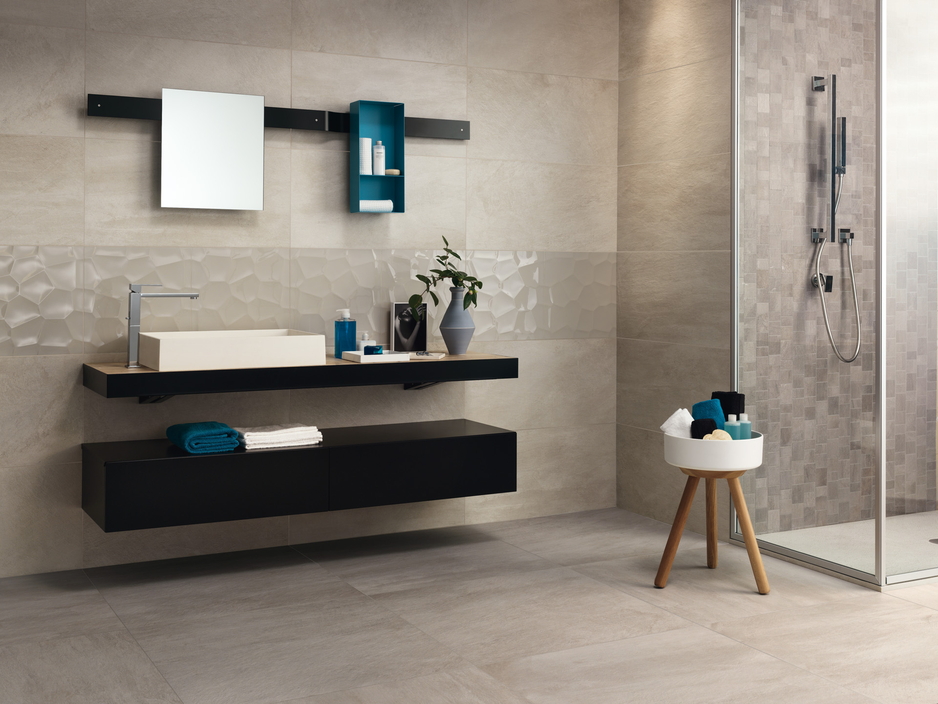 Ceramiche gardenia orchidea ceramic tiles floor and wall coverings in porcelain stoneware - Pavimento bagno grigio ...